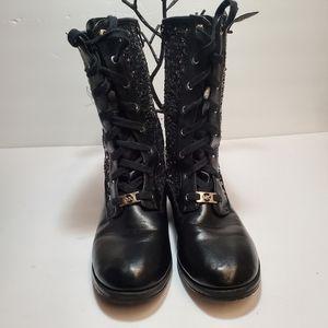 MICHAEL MICHAEL KORS Black Embellished Combat Sty